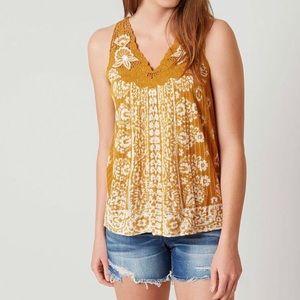 💛Lucky Brand Yellow/Mustard Boho Lace Tank Small